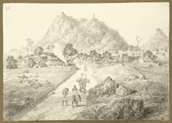 View of the village of Silwar (Bihar) at the foot of the hill with signalling tower. 13 February 1823